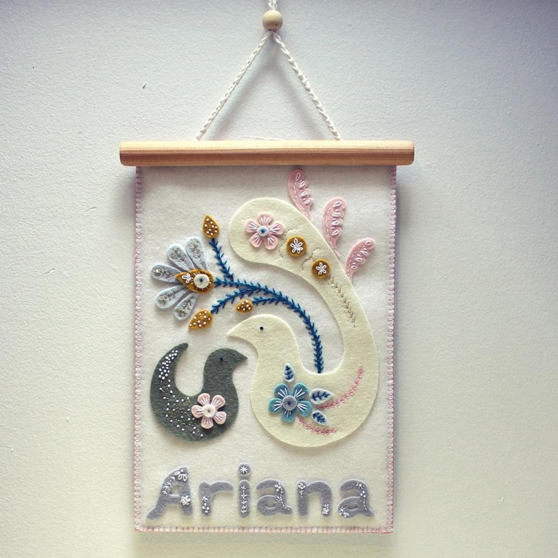 Custom Baby Name Embroidery Art