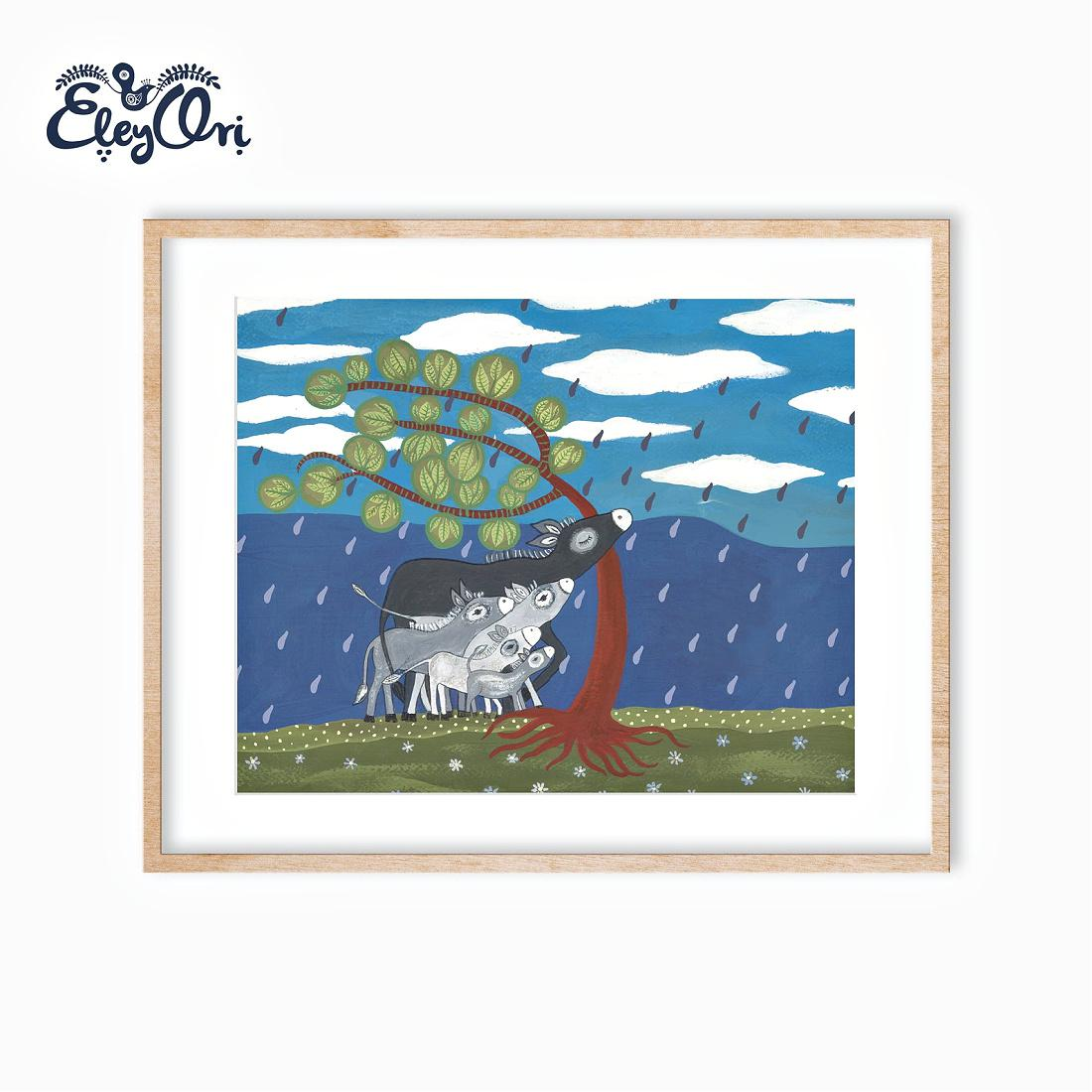 Donkeis in the Rain Book Illustration Print
